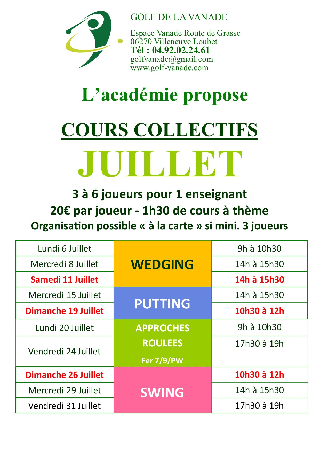 Cours collectifs Juillet 2020