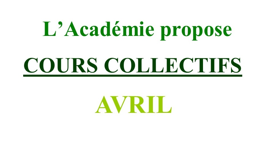 Cours Collectifs d'Avril 2021